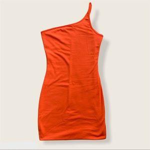 Neon Orange One Shoulder Bodycon Mini Dress
